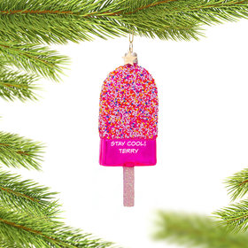 Personalized Pink Popsicle Christmas Ornament