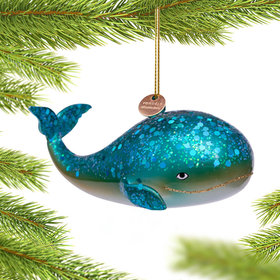 Personalized Giant Blue Whale Christmas Ornament