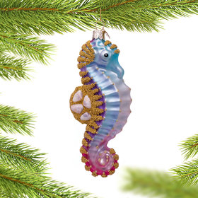Blue and Gold Seahorse Christmas Ornament