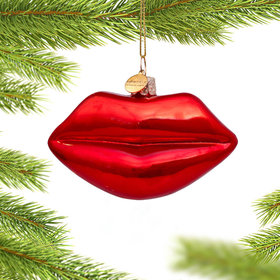 Personalized Red Lips Christmas Ornament