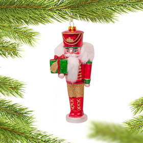 Glass Nutcracker Christmas Ornament