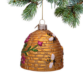 Personalized Gold Beehive Christmas Ornament
