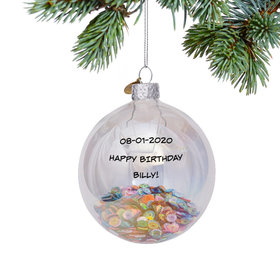 Personalized Sequin Glass Bauble Christmas Ornament