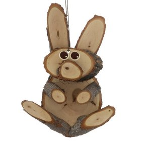 Natural Wood Rabbit Christmas Ornament