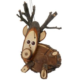 Natural Wood Reindeer Christmas Ornament