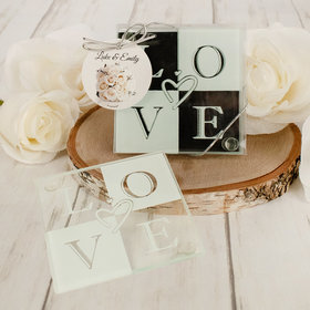 Personalized Wedding Glass Coaster- Love