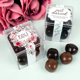 Personalized Wedding JUST CANDY® favor cube with Premium Milk & Dark Chocolate Sea Salt Caramels