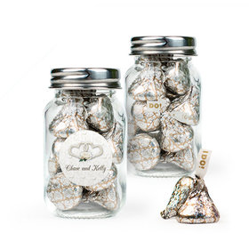 Personalized Wedding Favor Assembled Mini Mason Jar with Hershey's Kisses