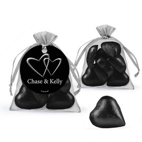 Personalized Wedding Favor Assembled Organza Bag with Milk Chocolate Hearts