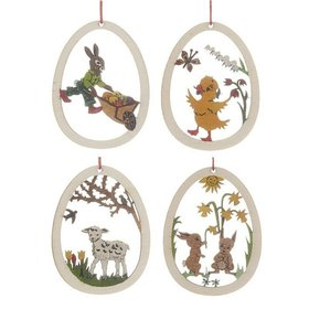 Wood Easter Egg Scenes (Set of 4) Christmas Ornament