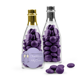 Personalized Rehearsal Dinner Favor Assembled Champagne Bottle with Just Candy Milk Chocolate Minis