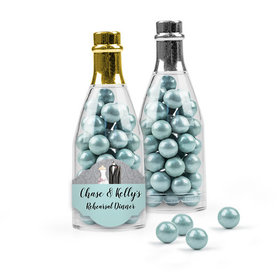Personalized Rehearsal Dinner Favor Assembled Champagne Bottle with Sixlets