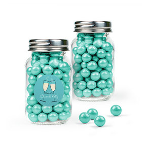Personalized Rehearsal Dinner Favor Assembled Mini Mason Jar with Sixlets