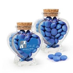 Personalized Rehearsal Dinner Favor Assembled Heart Jar with Just Candy Milk Chocolate Minis