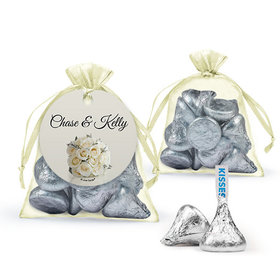 Personalized Rehearsal Dinner Favor Assembled Organza Bag with Hershey's Kisses