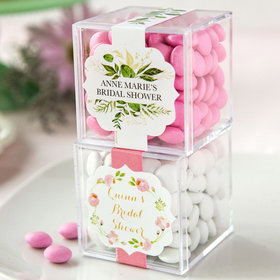 Personalized Bridal Shower JUST CANDY® favor cube with Just Candy Milk Chocolate Minis