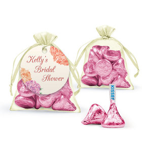 Personalized Bridal Shower Favor Assembled Organza Bag with Hershey's Kisses